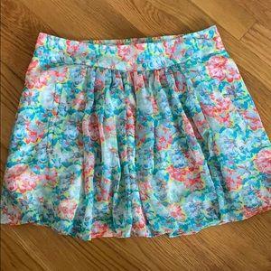 NWOT Zara Basic Floral Chiffon Skater Skirt